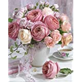 Kingshalor 5D Diamond Painting Full Drill Pink Rose Flowers in Vase Rhinestone Embroidery Dotz Kits Diamond Cross Stitch Patt