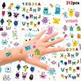 192 Assorted Halloween Kids Temporary Tattoo, Konsait Funny Colorful Monsters Temporary Tattoos for Children Boys Girls Kids