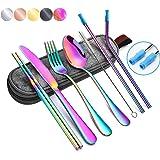 Portable Utensils Silverware Flatware Set 8-Piece Cutlery Set Including Knife Fork Spoon Chopsticks Straws Portable Bag for T
