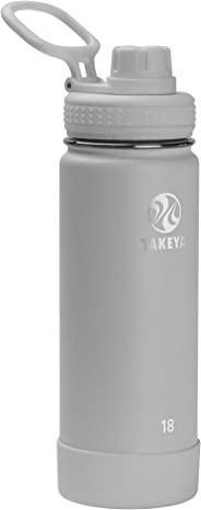 Takeya 51209 Actives Insulated Stainless Steel Bottle w/Spout Lid, 18 oz, Pebble