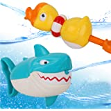 Dwi Dowellin Water Toys Shark Duck Shooter Blaster for Bath Bathtub Beach Water Table Pool Toys for Toddlers Kids Boys Girls