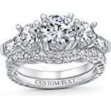 Art Deco Style 3CT Round Solitaire 3 Stone Past Present Future Promise CZ Engagement Wedding Ring 925 Sterling Silver