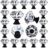 DeElf 12 PCS Clear Crystal Glass Drawer Pulls and Knobs Black Color Bases 30mm Faux Diamond Cut Shape for Dresser, Kitchen Ca