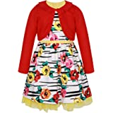 SPEINY Little Girls Casual Clothing Sets Fall Winter Cardigan+Floral Dress for Kids