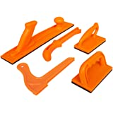 Safety Woodworking Push Block and Push Stick Package 5 Piece Set In Safety Orange Color, Ideal for Woodworkers and Use On Tab