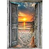 Diamond Painting Art Kit 40x60 Large Size, Full Square Diamond Drills Sandy Beach Sunrise,5D DIY Gem Art and Craft Puzzle for