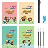 Katieyca 4 Packs Calligraphy Writing Book, Sank Magic Practice Writing Book Include Drawing/Math/Alphabet/Number-Reusable Eng