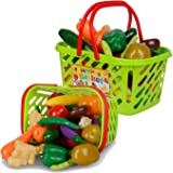 Fruits and Vegetables Shopping Basket Grocery Play Food Set for Kids - 38 Pieces