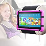 Car Headrest Mount Silicon Holder - Car Mount Compatible with Switch and Other 7-9.7 inch Tablets (Black)
