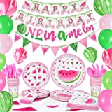 WERNNSAI Watermelon Birthday Party Supplies - One in a Melon Party Decorations for Girls 1st Birthday Banner Balloons Tablecl