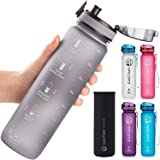 Cactaki 32oz Water Bottle With Time Marker, BPA Free Water Bottle, Non-Toxic, Leakproof, Durable, For Fitness And Outdoor Ent