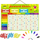 Magnetic Reward Behavior Star Chore Chart for One or Multiple Kids, Includes 8 Markers + 60 Foam Backing Illustrated Chores +