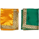 Yellow & Green Large Pooja Cloth Mat Aasan Decorative Cloth Set of 2 (Size:-20 Inches X 22 Inches,) for Multipurpose Pooja De