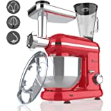 Ausbuy Stand Mixer, 1100W 4.5L 6-Speed Tilt-Head Food Mixer, Kitchen Electric Mixer with Dough Hook, Wire Whip & Beater (Red