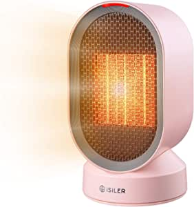 セラミックヒーター iSiLER 電気ヒーター 電気ストーブ PSE認証 2秒即暖 首振り 熱風・送風 600W 節電 暖房器具 転倒OFF 65℃過熱防止 113℃温度ヒューズ安全装置 コンパクト 足元 小型 デスク 脱衣所