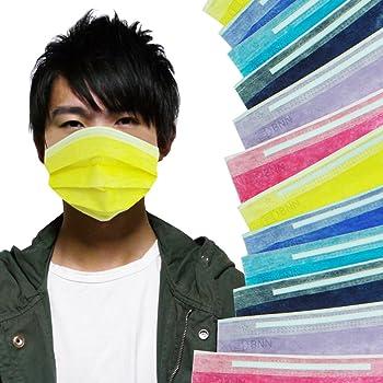 [メロウストア] マスク シンプルディープカラー 6色セット 3セット 18枚 不織布 ぴったりフィット 三層構造タイプ (大)