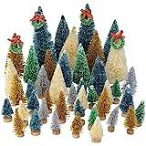 Topbuti 48 Pcs Mini Christmas Trees Bottle Brush Trees Sisal Snow Frost Trees Diorama Tree with Wood Base for Christmas Decor