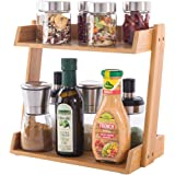 GOBAM Spice Rack Organizer 2-Tier Kitchen Countertop Cabinet Storage Shelf, Assemble Quickly, Bamboo