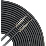 """GLS Audio 25 feet Speaker Cable 16AWG Patch Cords - 25 ft 1/4"""" to 1/4"""" Professional Speaker Cables Black 16 Gauge Wire - Pro"""