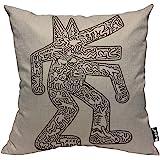 Mugod Body Art Pillow Cases Modern Keith Haring Abstract Graffiti Printing Grey Balck Throw Pillow Cover Cotton Linen Indoor