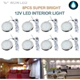 LED Recessed Cabinet Lights, 8 Pack RV Ceiling Light, Boat Ceiling Light, 12V 3W White Interior Ceiling, Roof Lamps RV for Ca
