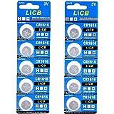 LiCB 10個入 CR1616 リチウム ボタン 電池 3V 1616 コイン形電池 水銀ゼロシリーズ