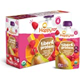 Happy Family Happy Tot Organic Fiber & Protein Pouch Stage 4 Pears Raspberries Butternut Squash & Carrots, 4 Ounce Pouch (8 P