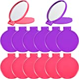 Blulu 24 Pieces Mini Folding Mirror Compact Portable Round Mirror Makeup Mirror for Women Girls Travel Daily Use, 2 Colors