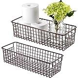 Farmhouse Decor Metal Wire Storage Organizer Bin Basket(2 Pack) - Rustic Toilet Paper Holder - Home Storage Organizer for Bat