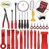 GOOACC 40Pcs Trim Removal Tool,Auto Terminal Removal Key Tool,Auto Clip Pliers Stereo Removal Tools,Car Upholstery Repair Pry