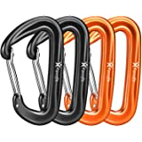 Favofit 12KN Heavy Duty Aluminium Carabiners (Weight Limit at 2697 lbs Each), Carabiner Clips for Hammock, Camping, Hiking, B