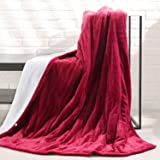 """MaxKare Electric Blanket Heated Throw Flannel & Sherpa Reversible Fast Heating Blanket 50"""" x 60"""", ETL Certification with 3 He"""