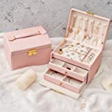 Jewelry Box for Women,jewelry organizer PU Leather 3 Laye with Drawers Large Lockable Display Jewelry Holder,for Earrings Bra