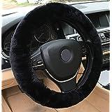 ANDALUS Steering Wheel Cover Soft Australian Natural Authentic Sheepskin Car   Vehicle Non-slip Wheel (Black)