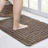Walensee Bathroom Rug Non Slip Bath Mat (32x20 Inch Taupe) Water Absorbent Super Soft Shaggy Chenille Machine Washable Dry Ex