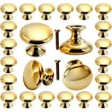 Cabinet knobs, POZEAN Gold Knobs 30 Pack Brushed Brass with Screws for Dresser Drawer Cabinet Cupboard, Perfect Kitchen Cabin