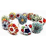 12 x Mix Vintage Look Flower Ceramic Knobs Door Handle Cabinet Drawer Cupboard Pull (12 Flat)