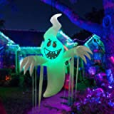 GOOSH 5Foot High Halloween Inflatable Hanging Ghost with Build-in Colorful Flashing LED Light Blow Up Inflatables for Hallowe