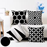 Modern Homes 100% Cotton Black and White Cushion Covers 18x18 inches Cushion Cases for Sofa, Bed; Set of 4 Black and White De