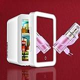 Mirrored Skincare Fridge with LED Light, 5L Girl's Personal Mini Fridge with Makeup Mirror Cosmetics Refrigerator for Desktop