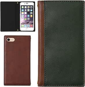 OPPO Reno A ケース 手帳型 外ポケット (カラー グリーン×ブラウン) カバー スマホケース 手帳ケース 手帳カバー スマホ SIMフリー スマートフォン