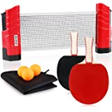 XGEAR Anywhere Ping Pong Equipment to-Go Includes Retractable Net Post, 2 Ping Pong Paddles, 3 pcs Balls, Attach to Any Table