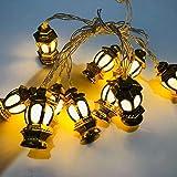 Eid Mubarak String Lights Vintage Lantern Deluxe Fairy Lights Battery Powered Decorative Lights for Muslim Ramadan Warm White