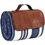 Extra Large Picnic & Outdoor Blanket Dual Layers for Outdoor Water-Resistant Handy Mat Tote Spring Summer Blue and White Stri