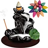 DK177 Waterfall Incense Holder Backflow Cone Ceramic Burner Handcrafted Porcelain Censer Inscent Stick Stand with 10 Free Con