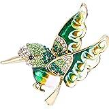 EVER FAITH Austrian Crystal Enamel Lovely Humming Bird Animal Brooch Pin Gold-Tone