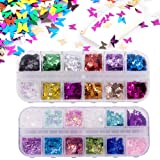 24 Color/set 3D Butterfly Nail Glitter Sequins, Kalolary Splarkly Laser Butterfly Nail Sequin Acrylic Paillettes Holographic