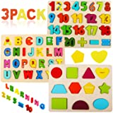 Wooden Puzzles for Toddlers, Voamuw Wooden Alphabet Number Puzzles and Shape Puzzle for Kids Ages 3 4 5 6, Toddler Learning P
