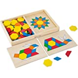 Melissa & Doug Pattern Blocks and Boards - Classic Toy with 120 Solid Wood Shapes and 5 Double-Sided Panels