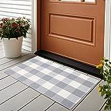 KIMODE 100% Cotton Buffalo Plaid Rug 24'' x 35' Gray/White Hand-Woven Checkered Welcome Door Mat, Washable Floor Rugs for Por